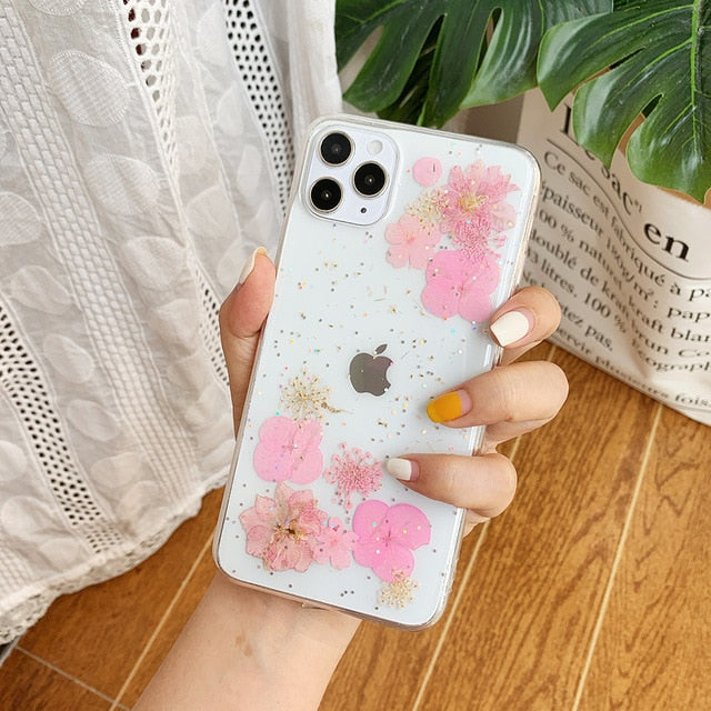 Real Dry Flower Glitter Case