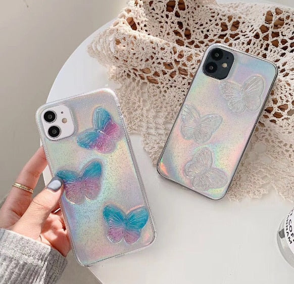 Laser Holographic Butterfly Case