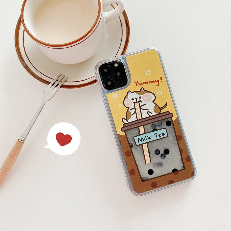 Cartoon Animals Quicksand Milk Tea Phone Case