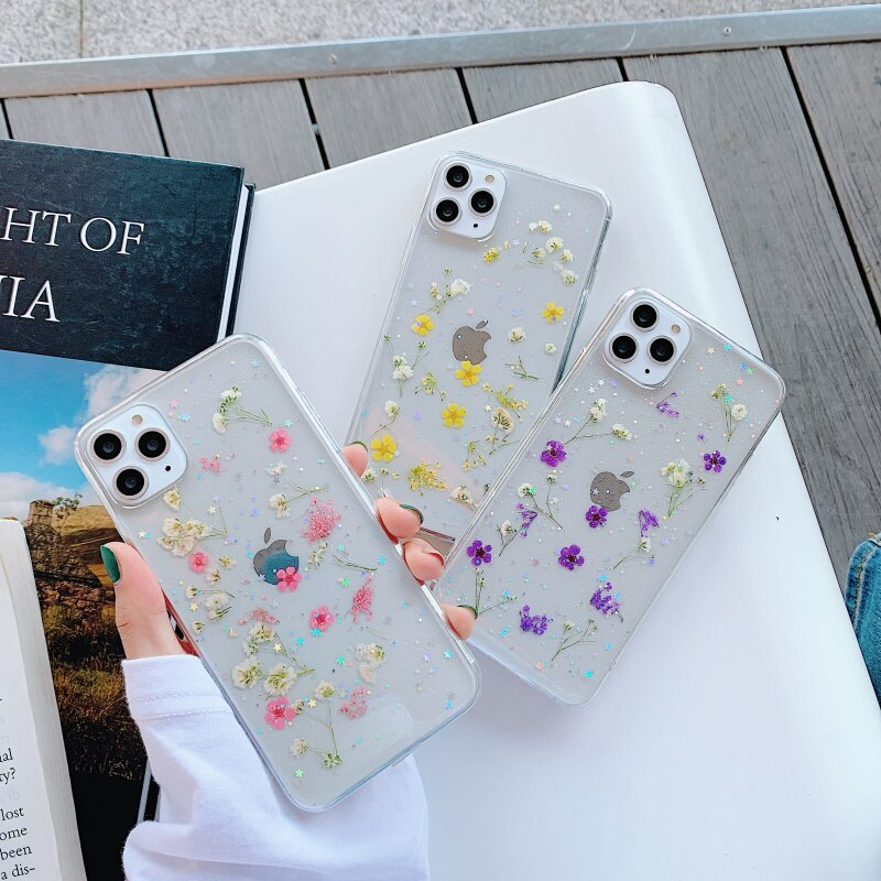 Real Dry Flower Glitter Clear Case