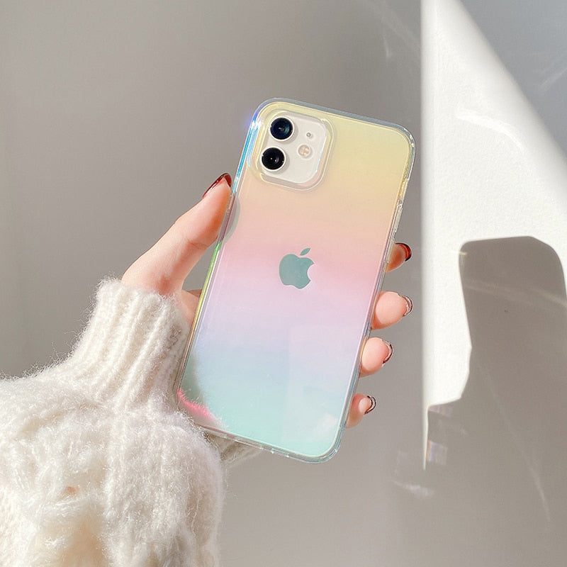Luxury Rainbow Aurora Transparent Case