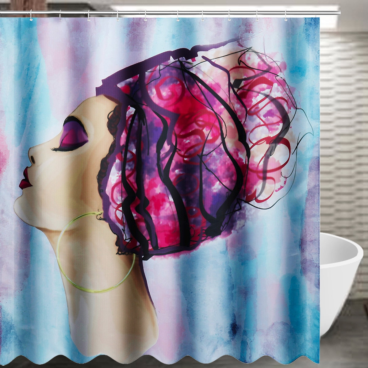 Waterproof Bathroom Curtains African Woman Shower Curtain Polyester Fabric Home 12 C Shaped
