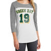 Women's Baseball Tee 3/4-Sleeve Raglan Shirt Scoop Neck Green Bay Logo #19