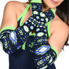 Arm Socks -Arm Warmers with Thumb Holes in Graphic Tribal Print Navy and Green