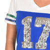 lady-12-Women's T-Shirt #17 Seattle Football-Inspired Throwback Jersey-varsity stripes
