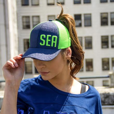 SEA for Seattle -Trucker hat for women by Lady 12 football apparel. football accessories for fans