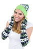 Arm Socks -Arm Warmers with Thumb Holes in Graphic Snowflake Print Navy and Green