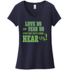 Love Us or Fear Us Seattle Football Design with Glitter Accents V-neck tee