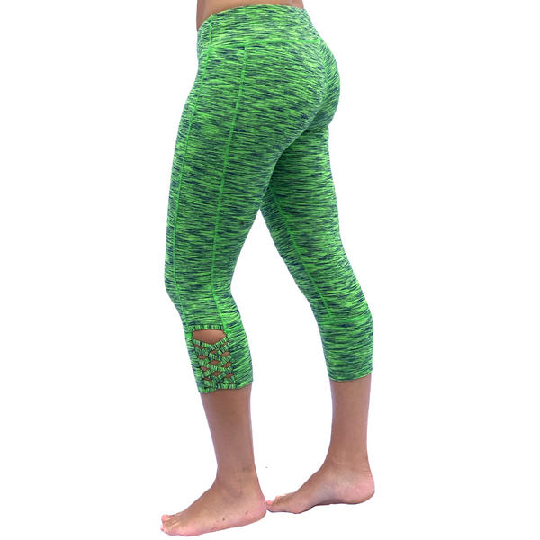 Our mid-rise capri length yoga pant with a hidden pocket from Lady 12