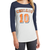 Women's Baseball Tee 3/4-Sleeve Raglan Shirt Scoop Neck Chicago Logo#10