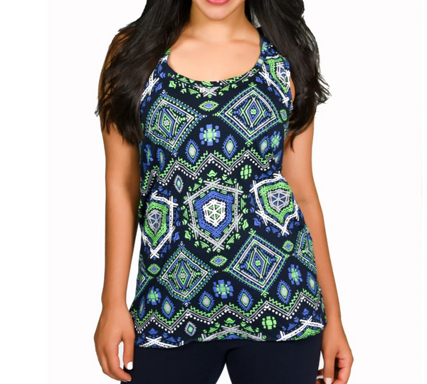 eye-catching Tribal Racerback Tee in Seattle Seahawk football colors