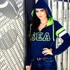 Navy SEA Women's Quarter-Zip Hoodie Sweatshirt with Seattle Logo Lady 12 Football Fashion