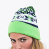 Pom Pom Knit Sports Cuffed Knit Hat Fair Isle Beanie Cap by Lady 12 Football Fashion
