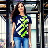 Seattle Football V-Neck T-Shirt Women's Form Fitting, Navy/Green by Lady 12