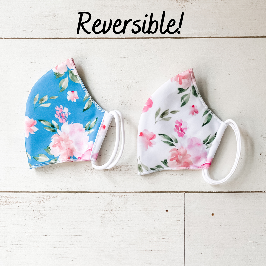 Floral Reversible 2 ply Ear Loop Mask
