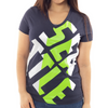 Seattle Football V-Neck T-Shirt Women's Form Fitting, Navy/Green by Lady 12 fashions
