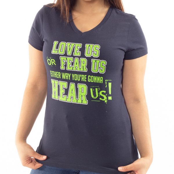Love Us or Fear Us Seattle Football Bling Design Glitter Accents V-neck tee