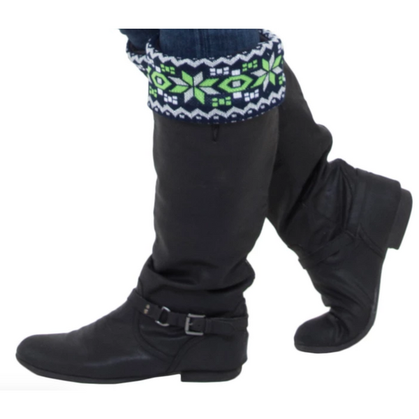 Boot Warmer, Boot Socks in Lime Green and Navy Blue winter Fair Isle design