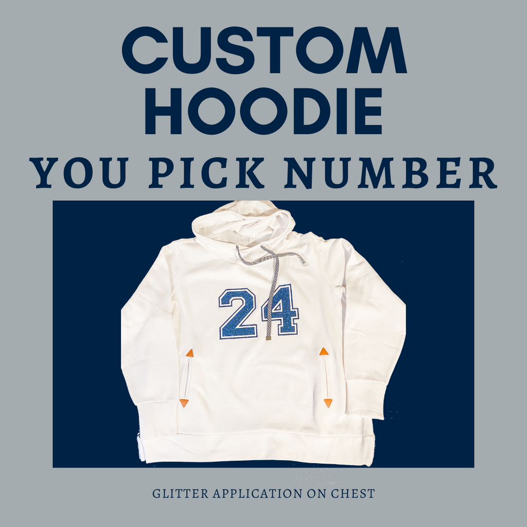 Custom Number Football Pullover Hoodie Sweatshirt Sporty Funnel Neck