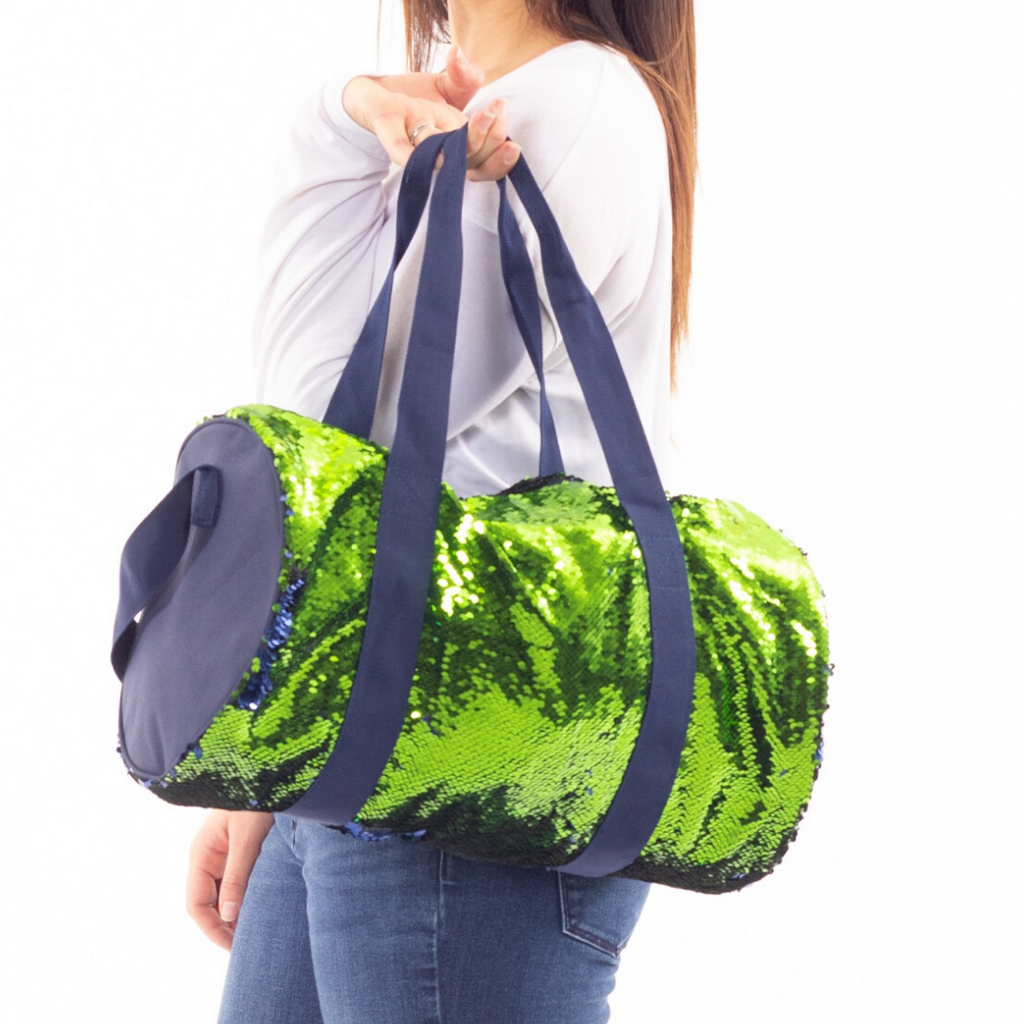 Lady 12 Mermaid Reversible Sequin Lime Green and Navy Duffle Bag | 18 inch, large size zipper closure with interior pocket