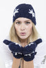 Chunky Knit Beanie Hat Snowflake Design Beanie Cap by Lady 12 Football Fashion