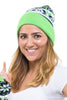 seattle football hat, beanie cap with pom, bright green, navy seahawk color hat, warm winter cozy hat by Lady 12 Fashions Football Apparel Clothing