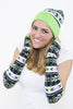 seattle football hat, beanie cap with pom, bright green, navy seahawk color hat, hawks fan wear  by Lady 12 Fashions Football Apparel Clothing
