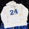 Lady 12's Football inspired hoodie has a large 9.5 inch 24 logo on the front chest