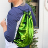 Mermaid Sequins Cheer Travel Cinch Bag Navy blue and lime green