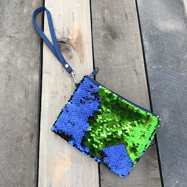 Wristlet with mermaid sequins - Lime/ Navy