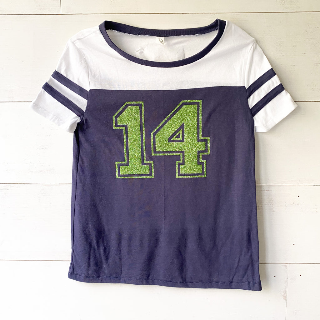 Sparkle in your favorite number |Varsity style T|