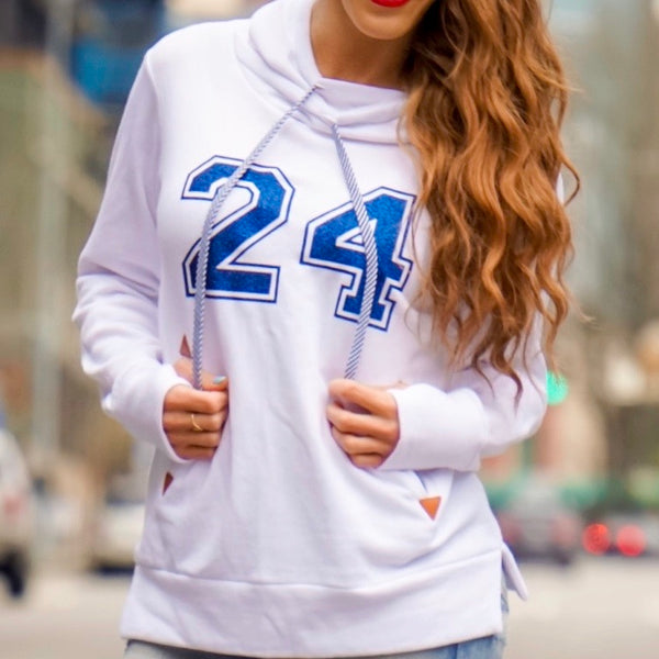 Pullover Hoodie Sweatshirt Sporty Funnel Neck - White 24 Logo By Lady 12