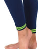 Jogger pant with legs tapering to an elastic ankle cuff with two bright lime green varsity stripes, so stylish.