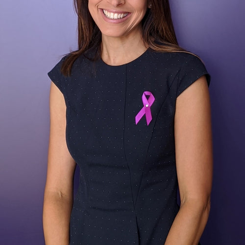 Pancreatic Cancer Awareness Ribbon - Premium Cloth with Clasp