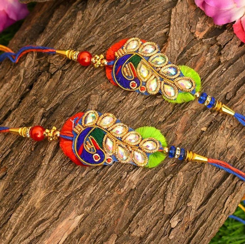 Shop Designer Peacock Rakhi Set of 2