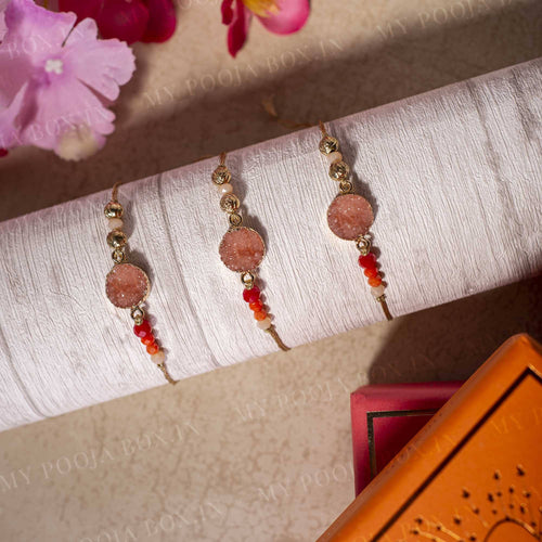 Orange Peach Stone Rakhi (Set of 3)