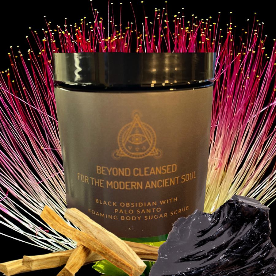 Beyond Cleansed-Black Obsidian and Palo Santo Foaming Body Sugar Scrub (12oz)
