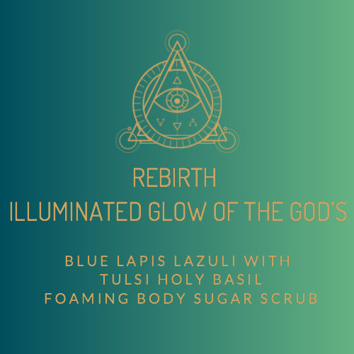 Rebirth- Blue Lapis Lazuli with Tulsi Holy Basil Foaming Body Sugar Scrub (12oz)
