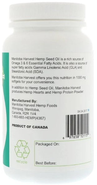 Manitoba Harvest Hemp Oil Caps, 1,000 mg