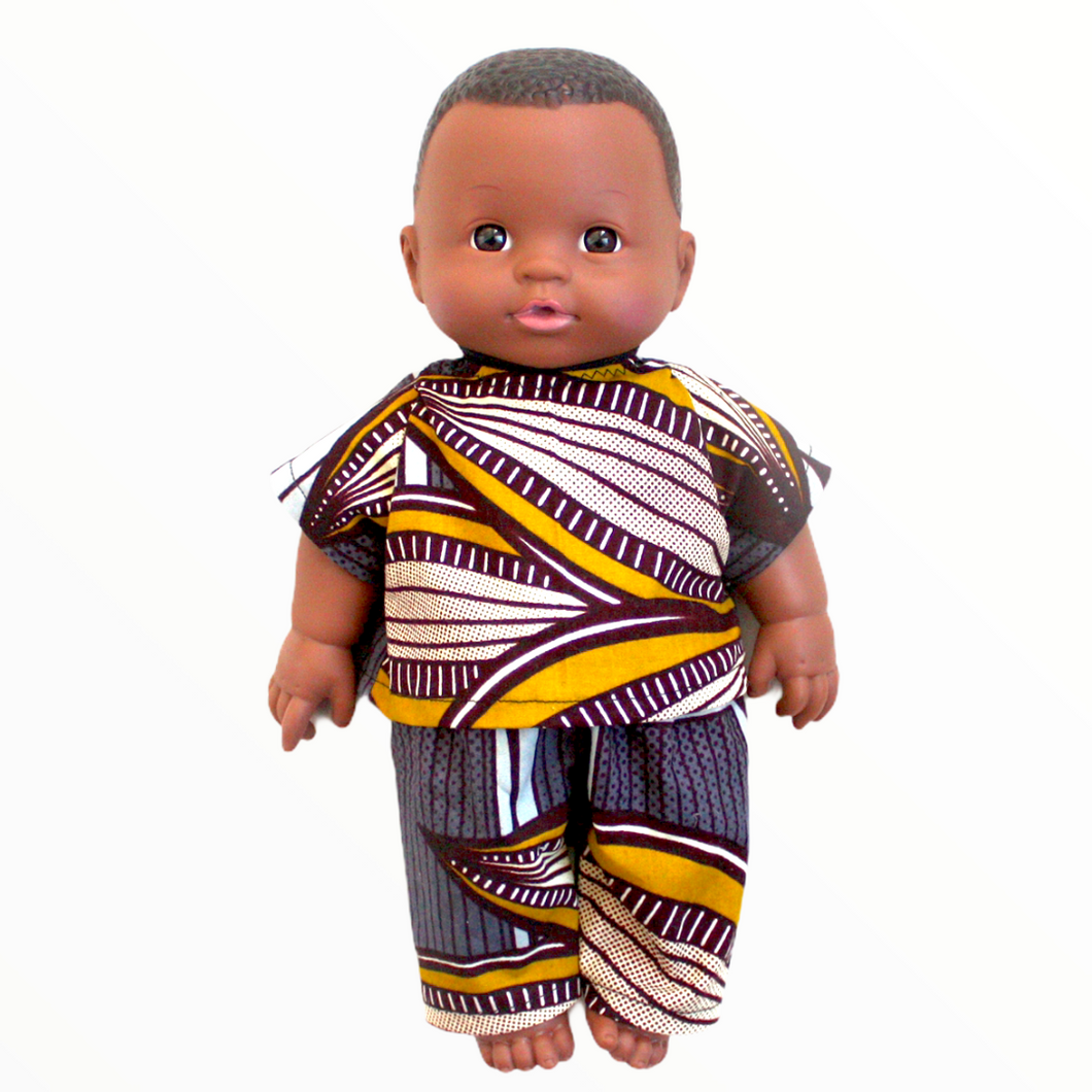 Khari African 12 inch boy doll in top and pants - Mustard Corn