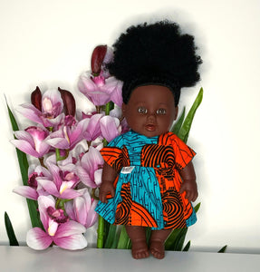 Nandi African 12 inch doll in dress - Zebra Sunset