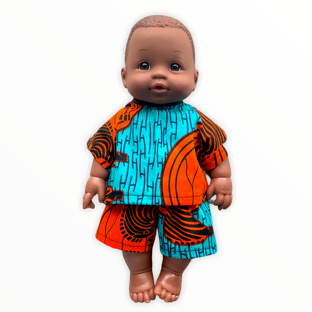 Khari African 12 inch boy doll in top and shorts - Zebra Sunset