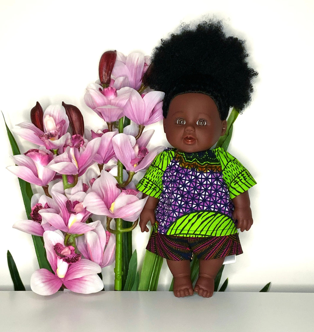 Nandi African 12 inch doll in top and shorts - Seashell