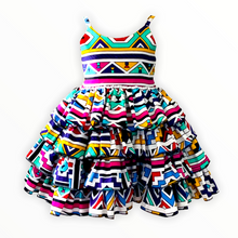 Load image into Gallery viewer, African print layered ruffle Dress - Ndebele Print