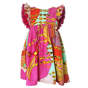 African print double flutter dress - Pink Jewel