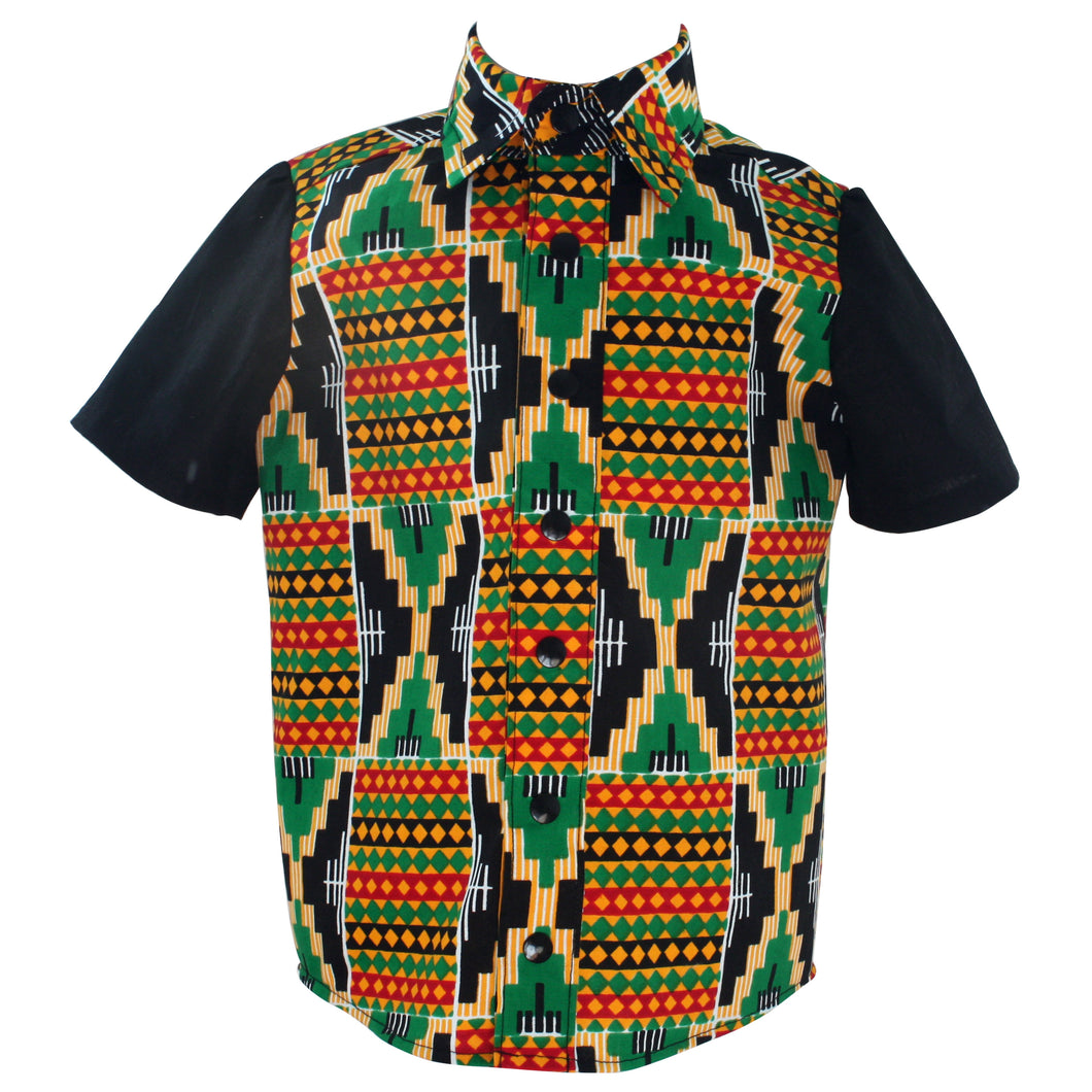 African print short sleeve shirt - Kente