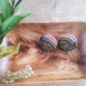 Kinobo African fabric earrings - Raspberry field