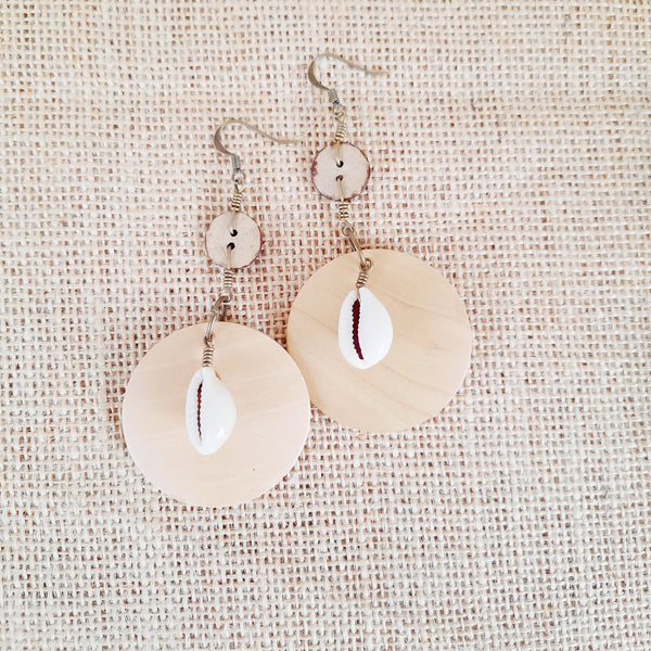 Amika - Cowrie Shell and button earrings