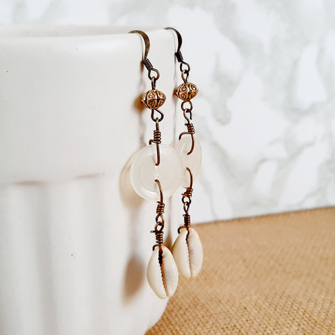 Liya - Cowrie Shell and button earrings