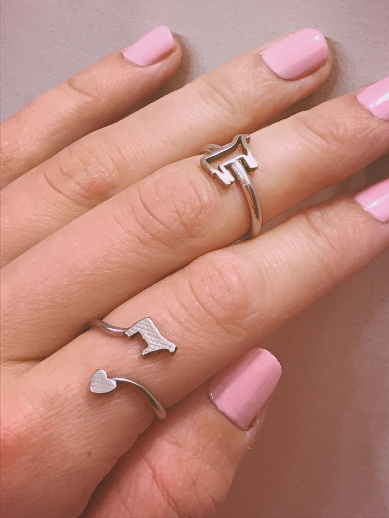 Steer and Heart Ring- Size 7